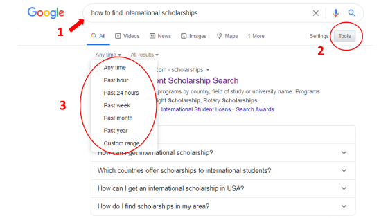 How to use google to find international scholarships