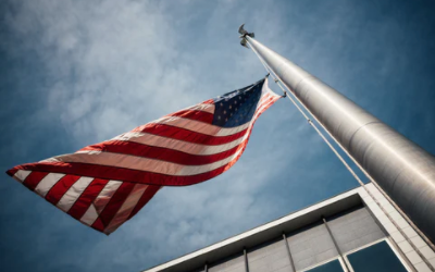 Flag over US Embassy for Proof of Funds to study in the US