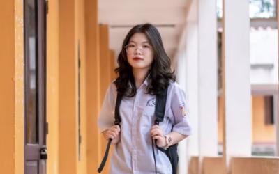 Female international student on campus